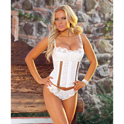 Embroidered corset with thong - corset and panty set