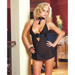 Chiffon babydoll set - chemise and panty set