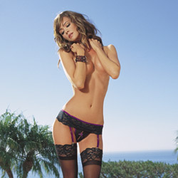 Garterbelt, thong and stocking - garter belt, panty and stockings set
