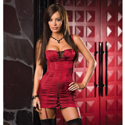 Corset dress with stockings - gartered mini dress