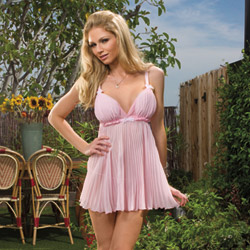 Pink pleated babydoll and thong - babydoll and panty set