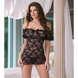 Black off the shoulder babydoll - babydoll and panty set