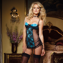 Burlesque blue chemise and thong