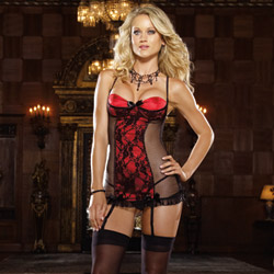 Burlesque red chemise and thong