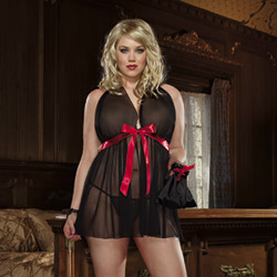 Black babydoll thong and gift bag - babydoll and panty set