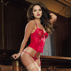 Ruby bustier and thong