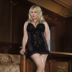 Lace front chemise and thong - chemise and panty set