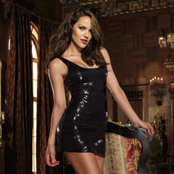 Black sequin dress - mini dress