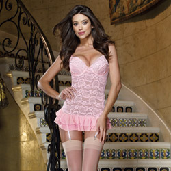 French frills garter slip and thong - chemise