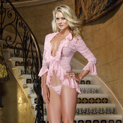 French frills sleep shirt and thong - bed jacket