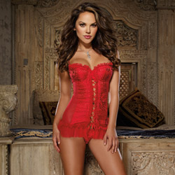 Lace up ruffled chemise and thong