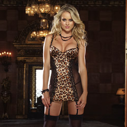 Animalistique garter slip and thong