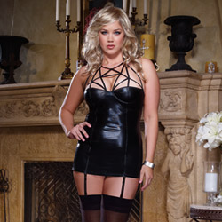 Caged heart chemise and thong