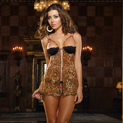 A little bit wild leopard babydoll and thong - babydoll and panty set