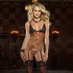 A little bit wild leopard garter slip and thong - camisole set