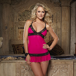 Lace and ruffle babydoll and thong - babydoll and panty set