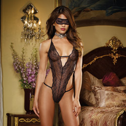 Stretch lace halter teddy and mask