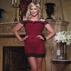 Red and black leopard wild kitty set - chemise
