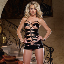 Lace-up chemise and thong
