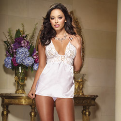 Charmeuse babydoll and thong - babydoll and panty set