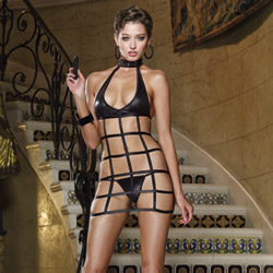 Lattice chemise, thong and toy
