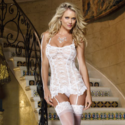 Lovely innocence garter slip and thong - chemise