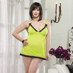 Lime stretch mesh chemise and thong