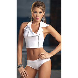 White two piece set with zipper - bra and panty set