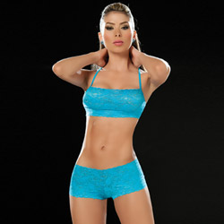 Turquoise lace panty and bra set - bra and panty set