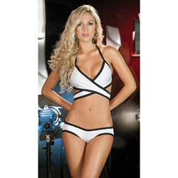 White criss cross top and panty set - bra and panty set