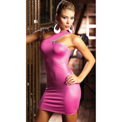 Pink dress with zipper detail - mini dress