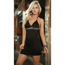 Black studded halter dress - mini dress