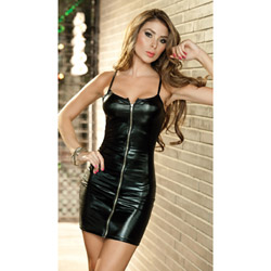 Zip front vinyl look dress - mini dress