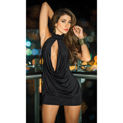 Halter keyhole front dress - mini dress