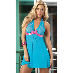 Turquoise-hot pink babydoll & g-string - babydoll and panty set
