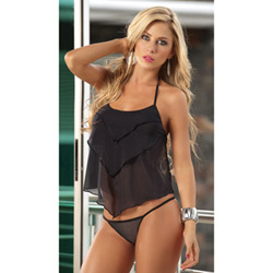 Long pant set with matching g-string - babydoll and panty set