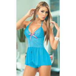 Turquoise babydoll and boyshort - babydoll and panty set