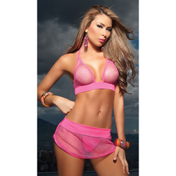 Pink fishnet three piece set - bra and panty set