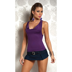 Sexy cowl front o-ring back top purple - tee