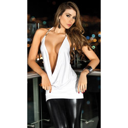 White jeweled draping front top - tee