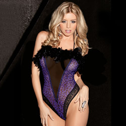 Purple leopard feather halter teddy