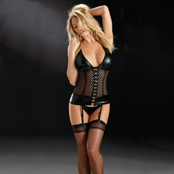 Fetish honeycomb bustier set - sexy lingerie