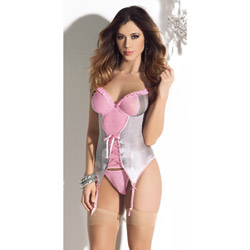 Pink glitter bustier with nude hose