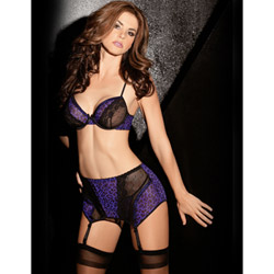 Purple leopard four piece set - bra and panty set