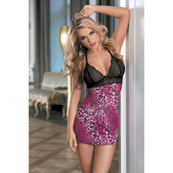 Leopard chemise - chemise and panty set