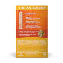 Male condom - Trojan ultra ribbed lubricated condoms - view #2