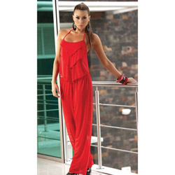 Long pant set with matching g-string red - babydoll and panty set