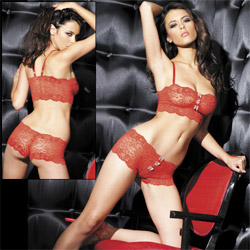 Stretch lace bralette and boyshort set - bra and panty set