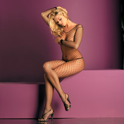 Lycra net open crotch body stocking - crotchless bodystocking