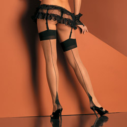 Cuban heel sheer 2 tone thigh high - thigh highs
